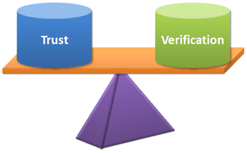 """Image of a Scale balancing """"Trust"""" and """"Verification. Source: George Howard's Blog """"The Cosmic Tusk"""""""